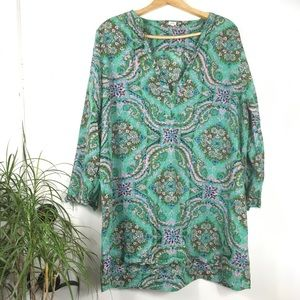 J. Crew Green Paisley Floral Tunic Cover Up